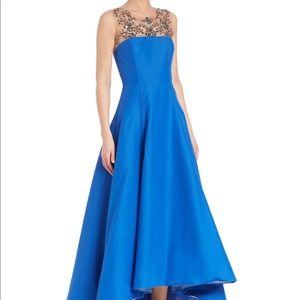 Marchesa Notte cobalt blue beaded high-low gown